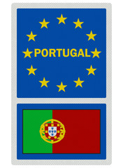 EU signs series - Portugal, photo realistic, isolated on white