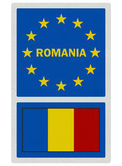 EU signs series - Romania (in English language), photo realistic