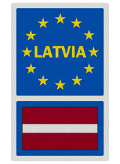 EU signs series - Latvia (in English language), photo realistic,