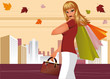 Autumn shopping. Fashion woman with bags in city. vector