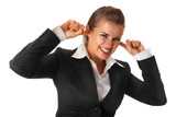 modern business woman closing ears with fingers isolated