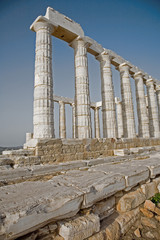 Pillars of the Temple of Poseidon at Cape Sounion, Greece