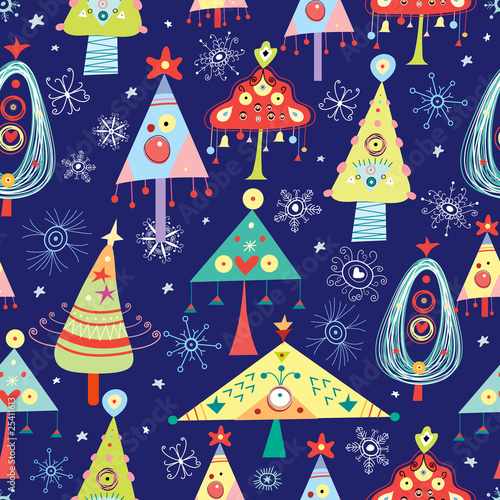 Cotton fabric texture Christmas Trees