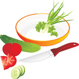 Cutting of vegetables and greenery for lettuce. Vector poster