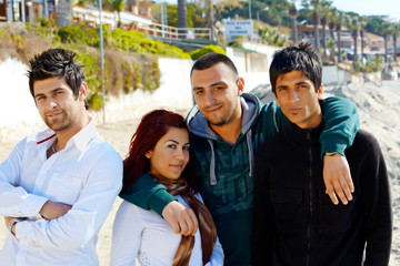 Turkish friends on Kusadasi beach.
