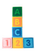 abc 123 in wooden block letters with clipping path
