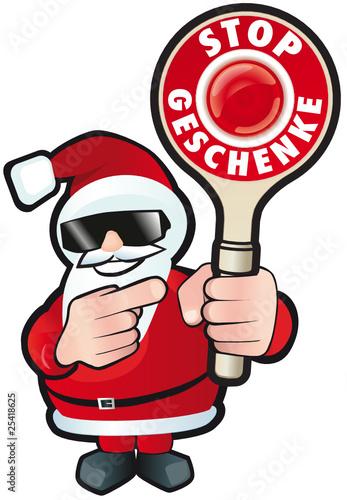 Weihnachtsmann mit Kelle - Stop Geschenke