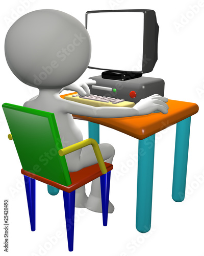 Illustration: Computer user uses 3D cartoon PC monitor
