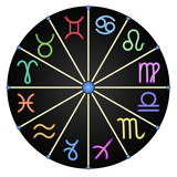 The zodiac from multi-colored zodiac signs, a black background