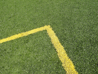 Yellow Corner Marking on soccer field