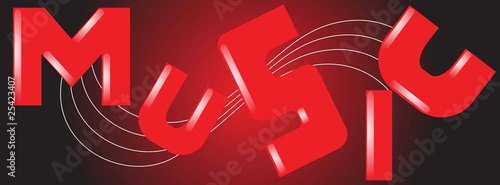 Illustration of music letter in a red background