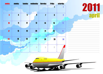 Calendar 2010 with plane image. Months. Vector illustration