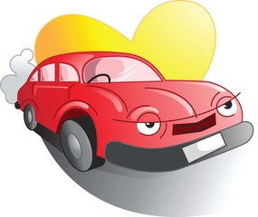 Illustration of car in a love symbols