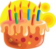Illustration of cake with candles in a design background