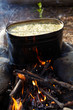 Kettle with food on campfire
