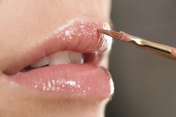 auftragen Lippenstift, Nahaufnahme