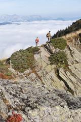Österreich, Steiermark, Reiteralm, Paar beim Wanderer