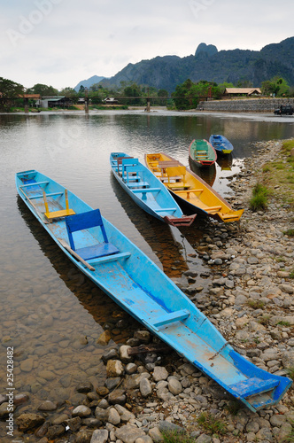 Traditional Laos longtail boat at Vang Vieng, Laos