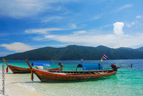 Thai longtail boat at the beach, Rawi island, Thailand