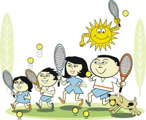 Family tennis cartoon