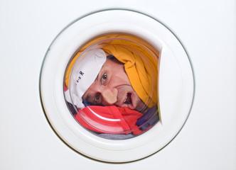 man in a washing machine