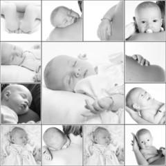 collage nouveau né en noir et blanc