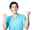 homme brun heureux fond blanc