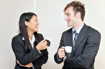 two business person talking