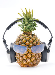 """Pineapple with sun glass and headphones front """"face"""""""