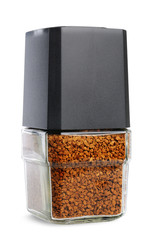 Instant coffee in glass pot without labels