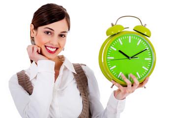 lady holding alarm clock