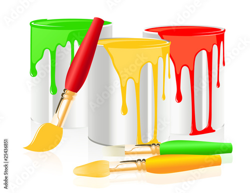 Paintbrushes and paintcan