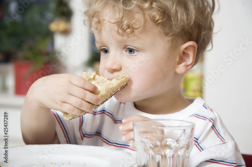 germany, berlin, boy (3-4) eating bread roll, portrait