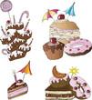 Kuchen, Torte, Gebäck, Vector Set