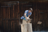 germany, bavaria, man chopping wood