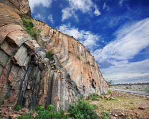 Hong Kong geopark, natural hexagonal column mural