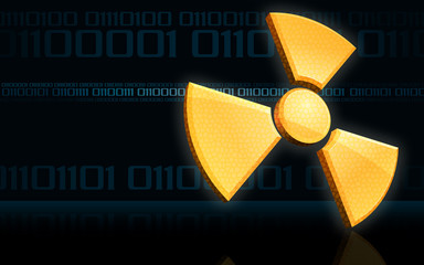 Radioactive symbol on binary code background