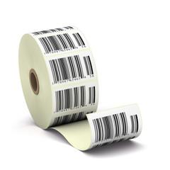 étiquettes codebarre, code barres sur un rouleau - soldes