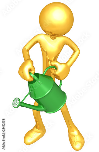 Gold Guy Holding A Watering Can