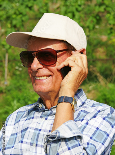 Senior Phone Call Outdoors