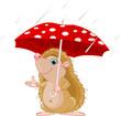 Hedgehog under umbrella presenting