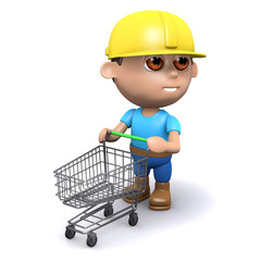Builder with shopping trolley