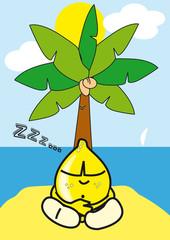 citron sieste plage personnage