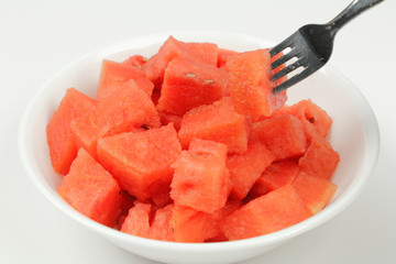 Watermelon Chunks in Bowl with Fork
