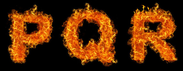 Set of Fire letter P Q R