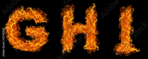 Set of Fire letter G H I