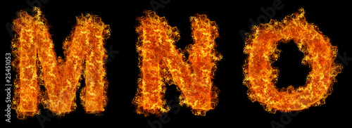 Set of Fire letter M N O
