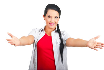 Casual woman with arms open