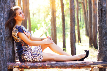 An attractive girl on the nature