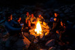 Leinwanddruck Bild - People near campfire in forest.